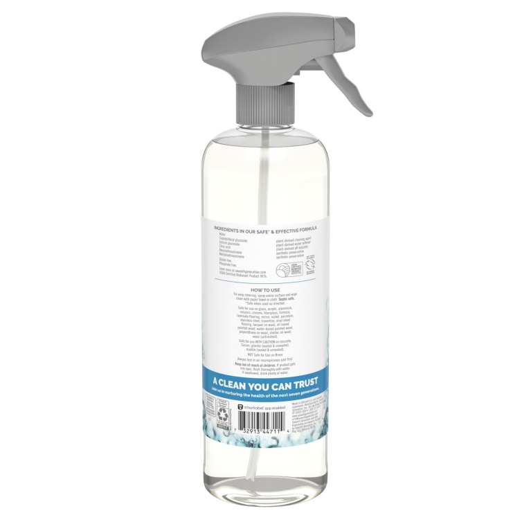 Back of Glass Cleaner spray bottle